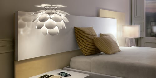Pendant light over bedside table